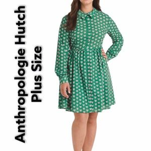 Hutch Plus Size Green Dress With Cat Prints